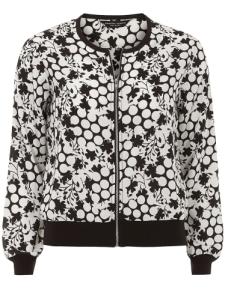 DP monochrome dot and flower bomber jacket