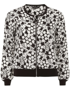 DP monochrome dot and flower bomber jacket
