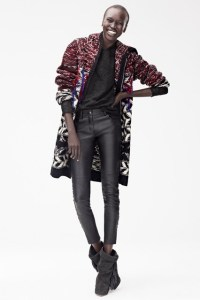 Isabel Marant for H&M - Alek Wek in wool cardigan £79.99, leather trousers, £179.99, top £59.99, boots £149.99