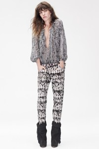 Isabel Marant for H&M - Lou Doillon in Trousers £59.99, peasant blouse £59.99, boots £149.99