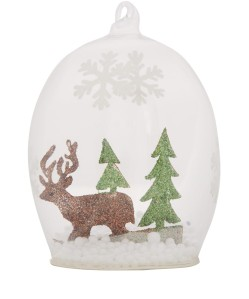 Liberty Glitter Cut-Out Deer Glass Bauble £3.95