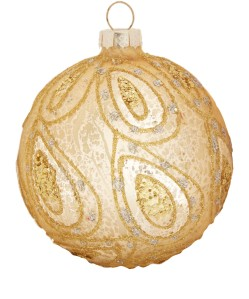 Liberty Gold Antique-Effect Glitter Paisley Bauble £3.95