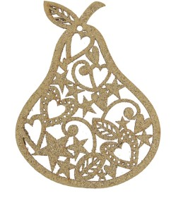Liberty Gold Glitter Cut-Out Pear Decoration £2.95