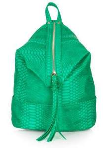 Topshop snake zip front backpack green £36