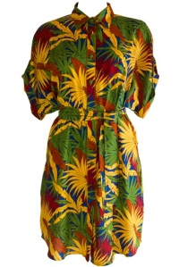 RR940 LEXI 80'S SHIRT DRESS TROPICAL DAZE BLUE GREEN